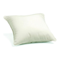 Oxford Garden - Throw Pillow 15 in. Square, Canvas - Add comfort and style with our specially designed cushions.  All of our cushions are made of Sunbrella fabric.  Developed from 30 years' experience with awnings and boat, Sunbrella is made of durable, all weather solution-dyed acrylic.  Each cushion has ample length ties to keep your cushion in place even during those gusty days.  Single piping provides a clean looking finished edge.  Sunbrella feels soft and comfortable to the touch but is rugged outdoors.  It retains its color and strength while withstanding years of exposure to sunlight and rain. Quick drying, mold and mildew resistant, fire retardant throw pillow.