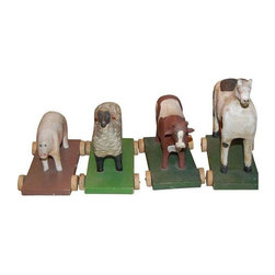 Used Vintage Amercian Folk Art Farm Animals c.1930s - Vintage American folk art farm animals c.1930's. Hand carved. Hand painted. A wonderful little folk art farm! Each animal is approximately 6 inches. Absolutely charming collection. Thanks for looking!