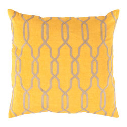 Surya Rugs - 22-Inch Square Golden Rod and Parchment Patterned Linen Pillow Cover with Poly I - - 22 x 22 100% Linen Pillow Cover w/ Poly Insert.   - For more than 35 years Surya has been synonymous with high quality innovation and luxury.   - Our designers have masterfully created some of the most cutting edge and versatile pieces to bring out the best in every room.   - Encompassing their expert understanding of the latest trends in fashion and interior design each product is a perfect combination of color pattern and texture to accommodate the widest range of tastes.   - With Surya the best in design and quality is at your fingertips.   - Pantone: Golden Rod Parchment.   - Made in India.   - Care Instructions: Spot Clean.   - Cover Material: 100% Linen.   - Fill Material: Poly fiber. Surya Rugs - COM004-2222P