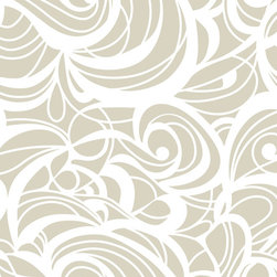 "Huddleson Linens - Champagne Swirl Linen Tablecloth, 108"" Round - Swirling, fluid two-color print in champagne and white that grows, shrinks, curves and circles - but never ends.  Gives a beautiful flow and depth to your table decor.  Champagne-taupe and white linen tablecloth.  100% top quality, luxurious, soft Italian linen. Machine washable"