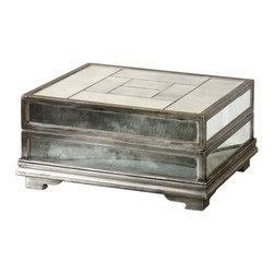 Trory Box - Tiled into a contemplative arrangement, the mirror panels in the lid of the Trory Box are both glamorously geometric and romantically antique. A distinctive piece for your desktop, side table, or vanity counter, this mirrored box is trimmed in an antique silver that emphasizes the mirrors' misty sense of age, creating a weighty accent with a storied feel.