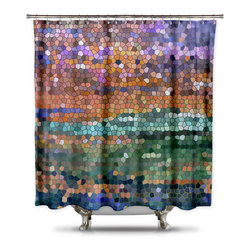 Shower CurtainHQ - Catherine Holcombe Egyptian Royalty Fabric Shower Curtain, Extra Long - This beautiful shower curtain with mosaic art will make anyone stop and stare. This digital design comes to you by California artist, Catherine Holcombe. The green and purple sparks of color in design will give your bathroom the color and waterproof artwork that it needs. The fabric is a thick quality polyester that hangs beautifully. This unique shower curtain is made in the USA and a portion of each and every sale goes back to the artist.