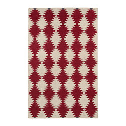"""Kaleen - Kaleen Nomad NOM02 25 Red Rug - 9 ft x 12 ft - Kaleen Nomad NOM02 25 Red Area Rug - Traveling the world or buying your first new home, we all love the excitement of a new adventure in our life. The """"Nomad"""" collection comes with a trendy sense of fashion, combined with sophistication and style. Geo prints, worldly designs, and classic motifs bring out the Nomad in all of us! 100% Wool Flatweave, Handmade in India"""