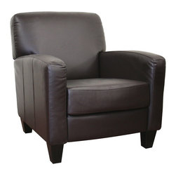 Baxton Studio - Baxton Studio Stacie Brown Leather Modern Club Chair - The simple modernism emanating from this club chair'starring feature sure to attract all lovers of basic, clean design.  The dark brown bycast leather that upholsters this living room furniture is a quick way to add sophistication to any interior space.  Construction is completed with a solid wood frame and black wood legs, and comfort is added with dense medium-firm foam cushioning (attached, non-removable).  Minor assembly is required.