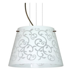 Besa Lighting - Besa Lighting 1KG-4393WD-LED Amelia 1 Light LED Cable-Hung Pendant - Amelia features a tapered drum shape, open at the top, that fits beautifully in transitional spaces. Our White Damask glass is an art deco nouveau in handcrafted glass. The background is painted in white on the inside, while the outer surface is etched so the pattern shows as frosted. This hand-blown glass is acid etched clear on the outside surface. The process of etching creates an un-textured, satin finished. The lit glass has a subtle yet functional design. The cable pendant fixture is equipped with three (3) 10' silver aircraft cables and 10' AWM cordset, and a low profile flat monopoint canopy.Features: