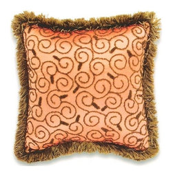 "CCCC-P-784 - Silk Scroll Coral Pattern Print 18"" x 18"" Throw Pillow with Brush Fringe Trim - Silk scroll coral pattern print 18"" x 18"" throw pillow with brush fringe trim. Measures 18"" x 18"" made with a blown in foam and also available with feather down inserts at additional costs, search for down insert upgrade to add the up charge to your order. These are custom made in the U.S.A and take 4- 6 weeks lead time for production."