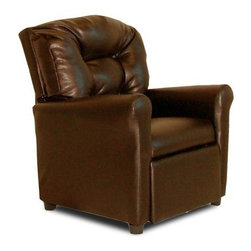 Dozydotes 4-Button Kid Recliner - Pecan Brown - The Dozydotes 4-Button Kid Recliner - Pecan Brown is sure to be a great addition to any kid's room. It's crafted with a durable solid hardwood frame and upholstered in soft pecan brown fabric. The easy-recline mechanism makes relaxing even simpler. About DozydotesDozydotes' mission is to bring joy to children and confidence to shoppers which Dozydotes achieves by offering exclusive designs and high quality products. The brainchild of experienced mother Rene Campbell and elementary educator Alisa Clark-Slodoba Dozydotes aims to bring smiles to the faces of children and parents alike with fun creative products. Designed with kids in mind Dozydotes recliner chairs are miniature versions of the real thing and are equally attractive meaning your child will have a custom-sized chair that will look great in your home.