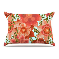 """Kess InHouse - Art Love Passion """"Flower Power"""" Red Floral Pillow Case, Standard, 30""""x20"""" - This pillowcase, is just as bunny soft as the Kess InHouse duvet. It's made of microfiber velvety fleece. This machine washable fleece pillow case is the perfect accent to any duvet. Be your Bed's Curator."""