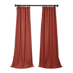 "Exclusive Fabrics & Furnishings, LLC - Cinnabar Heavy Faux Linen Curtain - 100% Polyester. 3"" Pole Pocket with Hook Belt & Back Tabs. Unlined. Imported. Weighted Hem. Dry Clean Only."