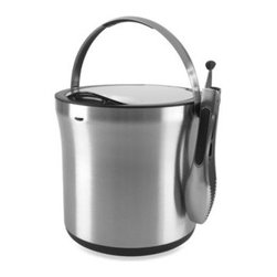 Oxo - OXO SteeL 4-Quart Ice Bucket & Tong Set - The OXO SteeL Ice Bucket and Tong Set features insulated double-wall construction that keeps ice cold inside without condensation on the outside.
