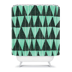 DENY Designs - Nick Nelson Analogous Shapes 1 Shower Curtain - Break up your monotonous bathroom with a bold, contrasting patterned shower curtain. Nick Nelson's green on green triangles have a grainy, washed-denim texture and subtle, hand-drawn variation, giving them a vintage, street-worn appeal.