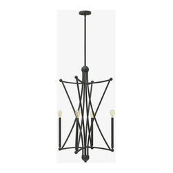 Hinkley - Hinkley-3634OZ-Stella - Four Light Foyer - Stella�s intersecting construction creates a unique star-like frame. The bold Bronze finish adds masculine flair to this elegant study in symmetry. For a retro modern look, pair with vintage filament bulbs or go modern with the fixture�s optional metallic woven shades. No. of Rods: 4 Mounting Direction: Up Shade Included: Yes Sloped Ceiling Adaptable: Canopy Diameter: 5.00 Rod Length(s): 24.00  Oil Rubbed Bronze Finish with Fabric Shade  Lamp Quantity: 4  Lamp Type: Candelabra  Wattage: 60  Wire Length: 120.00  Material: Steel