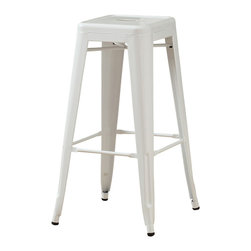 Monarch Specialties - Monarch Specialties I 2400 White Glossy Metal 30 Inch Cafe Barstool [Set of 2] - Bring together contemporary design with industrial styling, this white Square Metal Stool is a fashionable statement for all rooms. Built from heavy duty steel, the stool has a stationary seat and multiple footrests for added comfort. The shiny white finish will brighten any room, allowing it to easily coordinate with your existing decor. Perfect for pulling up to a counter, bar or high top table. Arrives fully assembled. Barstool (2)