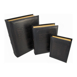 Set of 3 Leather Look  Wooden Book Stash Boxes - This set of 3 leather looking books is actually a set of secret stash boxes that allow you to store private things out in the open. The wooden boxes have padded vinyl coverings that are embossed with the title, `The Concise Dictionary of Christian Theology by Millard J. Erickson.` The largest box measures 12 3/4 inches tall, 10 1/2 inches wide, 3 1/2 inches thick, the middle box is 10 1/4 inches tall, 8 inches wide, 2 1/2 inches thick, and the smallest measures 8 inches tall, 6 inches wide, 1 3/4 inches thick. They are great for stashing small valuables, and fit right in with the rest of your books on a shelf or bookcase. This set is also a great gift for a friend.