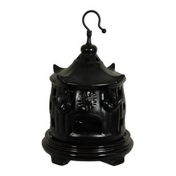 Oriental Unlimted - 11 in. Dia. Solid Black Porcelain Bird Cage - Rosewood stand sold separately. Chinese porcelain decorative bird cage. An elegant and unique decorative accessory hung or displayed on a shelf or stand. A traditional good luck, wedding or housewarming gift. This item shot with the stand for illustration purposes, the stand is sold separately. Please select the 6.5 in. size of Rosewood Pedestal Stand, Rosewood Carved Stand or Rosewood Vase Stand.. 7.5 in. Dia. x 11 in. H (3 lbs.)
