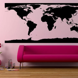 StickONmania - Full World Map Sticker - A nice vinyl sticker and wall art design for your home  Decorate your home with original vinyl decals made to order in our shop located in the USA. We only use the best equipment and materials to guarantee the everlasting quality of each vinyl sticker. Our original wall art design stickers are easy to apply on most flat surfaces, including slightly textured walls, windows, mirrors, or any smooth surface. Some wall decals may come in multiple pieces due to the size of the design, different sizes of most of our vinyl stickers are available, please message us for a quote. Interior wall decor stickers come with a MATTE finish that is easier to remove from painted surfaces but Exterior stickers for cars,  bathrooms and refrigerators come with a stickier GLOSSY finish that can also be used for exterior purposes. We DO NOT recommend using glossy finish stickers on walls. All of our Vinyl wall decals are removable but not re-positionable, simply peel and stick, no glue or chemicals needed. Our decals always come with instructions and if you order from Houzz we will always add a small thank you gift.