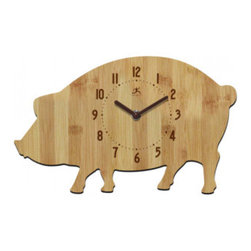 "Origin Crafts - Pork chop wall clock - 12.5"" - Pork Chop Wall Clock - 12.5"" 100% Bamboo butcher block shaped like a pig. Open face with brown plastic hands. Dimensions (in):L 7.5in x W 12.5in By Infinity Instruments - Infinity Instruments is a industry leader in clocks, wall decor and weather instruments. They offer a spectacular variety of"