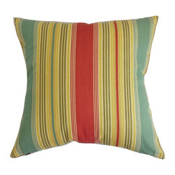 """The Pillow Collection - Marquis Stripes Pillow Berry 20"""" x 20"""" - Add this plush decor pillow to your living space for an inviting and homey vibe. This accent pillow comes with multicolored stripes in shades of red, yellow and blue. This throw pillow is a beautiful statement piece to add in your couch, sofa or bed. Mix and match this 20"""" pillow with other patterns like geometric, plaid and more. Made from a combination of 90% cotton and 10% linen fabrics. Hidden zipper closure for easy cover removal.  Knife edge finish on all four sides.  Reversible pillow with the same fabric on the back side.  Spot cleaning suggested."""