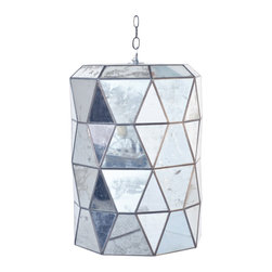 Worlds Away - Worlds Away Large Faceted Mirror Lantern MODERNA M - Large faceted mirror lantern with 3-light candle cluster for 40W bulbs. Comes with 3' antique brass chain and canopy.