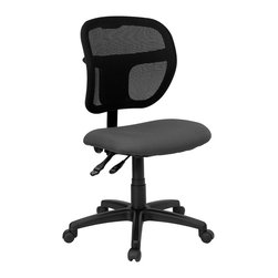 Flash Furniture - Mesh Task Chair w Dual Wheel Casters - Mesh backed ergonomic drafting stool with Gray fabric upholstered seat. 3 in. Thick foam padded seat. Breathable mesh fabric back. Height adjustable ratchet back. Ergonomically contoured back. Height adjustable arms. Pneumatic seat height adjustment. Locking back posture adjustment. Chrome finished steel foot ring. Heavy duty nylon base. Dual wheel casters. Seat: 20 in. W x 18 in. D. Back: 18 3/4 in. W x 17 1/4 in. - 19 3/4 in. H. Seat Height: 24 1/4 in. - 29 1/4 in. H. Arm Height: 7 1/2 in. - 10 in. H From Seat. Overall: 25 1/4 in. W x 24 1/2 in. D x 40 - 47 1/2 in. H