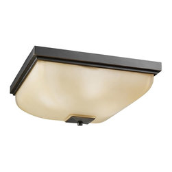 KICHLER - KICHLER 7011OZ Transitional Flush Mount Ceiling Light - Bold contemporary forms blending with classic design elements are featured in the Benton Collection. The brilliance of our Olde Bronze finish creates a beautiful and reliable fixture. The Benton's pronounced rectangular shape is accentuated by the warm color of light umber glass that will bring out the best in your home at a price that is right for any budget.