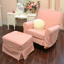 Sweet Chic Pink Linen Rocking Chair with Ottoman - Relax and put your feet up with this gorgeous rocker and ottoman! Comes fully upholstered in new pink linen fabric. The slip covers do come off both the ottoman and rocker for easy cleaning. Comes with matching cushion. White pillow not included. See the rocker legs-- made of wood.
