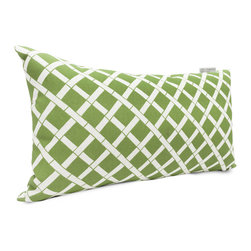 Majestic Home - Outdoor Sage Bamboo Small Pillow - This pretty bamboo print will liven up your favorite casual setting — indoors or out. The durable fabric's been treated with UV protection so that it can take a sun beating and still look beautiful.