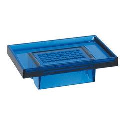 Modo Bath - Lem K830B Wall Soap Holder in Blue - Lem K830B, 5.7 x 3.5 x H 1.8, Wall Soap Holder, in Blue