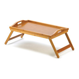 """Koehler Home Decor - Koehler Home Decor Bamboo Serving Tray - Versatile bamboo tray folds up for easy storage while not in use as a side table or serving tray. Designed with comfortable handles and raised edges to prevent spillage. Weight 2.6 lbs. Folded: 19.75""""x 11 7/8""""x 2.5"""" high; opened: 25.12""""x 11.75""""x 9.25"""" high. Bamboo.Weight 2.6 lbs. Material: Bamboo."""