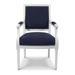 Jonathan Adler - Louis Arm Chair - French Royalty inspired, but oh-so-modern, this updated take on the classic bergère chair will woo you with its iconic shape and impressive details. This stately chair is crafted from organic materials, upholstered in a regal navy linen/cotton blend and finished in a glossy white lacquer. You'll love the stylish finishing touches on this stunning armchair, like the hand-hammered nailhead detailing and the structured cross back.
