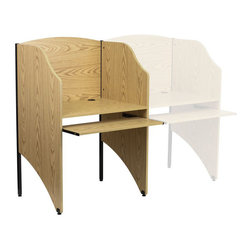 Flash Furniture - Starter Study Carrel in Oak Finish - The study carrel by Flash Furniture can be used in a multitude of environments for students and adults to relax and enjoy the solitude for studying and reading. This floor carrel features a large work surface to accommodate a computer monitor or laptop with room for books and paperwork and the leveling glides ensure a stable work surface. You can also create a row of study carrels by purchasing add-ons to have a computer lab or to create an atmosphere for users to have their own personal space for privacy. The possibilities are endless with creating your custom space and at an affordable price.