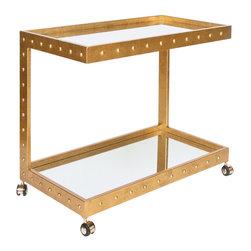 Worlds Away - Vince Gold Bar Cart - Studded gold leaf bar cart with mirrored shelves.