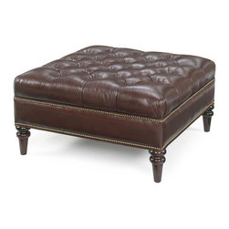 "Oxford Tufted Square Leather Ottoman - The Oxford square fabric or leather upholstered button tufted ottoman with decorative nailhead trim dimensions W39"" x D39"" x H19."" Pictured with decorative Bombay legs. Available in 100 assorted fabrics, 20 leathers and two leg color choices! Price shown is for Tier 1 fabric color option."