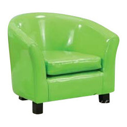 "Acme - Green Vinyl Children's Club Chair with Rounded Back and Arms - Green Vinyl Children's Club Chair with Rounded Back and Arms. Measures 20"" x 17"" x 18""H. Some assembly required. Also available in other colors."