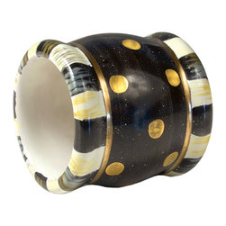 Black Tie Napkin Ring | MacKenzie-Childs - Dramatic on a formally dressed table but fun for casual days too, our Black Tie Napkin Ring is handcrafted in clay and hand-painted in bold black-and-white accented by shining gold lustre. Even if the good china stays in the cupboard, you'll want to use these black and gold beauties at every opportunity.
