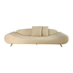 ecofirstart - Harmony Sofa - Curvy and cloud-like, this is one cool couch for your lounge or loft. There's a solid wood frame beneath those comfy, come-hither cushions wrapped in removable covers made from a wool, cotton and linen blend fabric. It floats on small polished chrome legs.