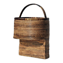 Eco Displayware - Rounded Rattan Step Basket in Espresso - Great for closet, bath, pantry, office or toy and game storage. Earth friendly. 16 in. L x 9.75 in. W x 19.5 in. H (11.06 lbs.)These natural colored baskets add warmth and charm and keep you organized.