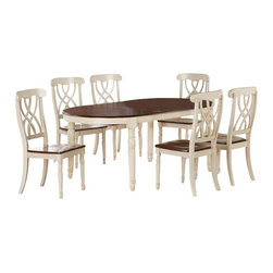 Monarch Specialties - Monarch Specialties 7-Piece 60 x 42 Dining Room Set in Antique White - Finished in a walnut veneer, this traditional dining table will create the perfect look for intimate dinners or casual get together. The rectangular shaped piece features curved edges, turn post legs, and is brushed in an antique white color. This table has a simple yet stylish look that can blend into any decor. These armless dining chairs compliment the style of the dining table with their sleek lines and antique white finish. With turn post legs and a unique interlacing curve motif, these pieces are completed with a warm, walnut colored seat. What's included: Table (1), Side Chair (6).
