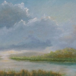 "Original Tropical Landscape Oil Painting - 12"" X 36"" - Low Sun on the Water is an original 12""x36"" tropical landscape oil painting on gallery wrap canvas of the marsh land in Florida not far from Sarasota. As the late afternoon sun dips low on the horizon, clouds are back lit and the sunlight shimmers off of the water. The low sun floods the scene with soft, warm light that soothes the soul."