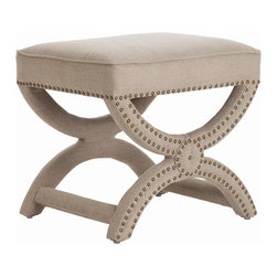 Arteriors - Tennyson Stool, Natural - Beautiful linen accented by metallic studs makes this piece a dramatic addition to your favorite contemporary setting. With its classic curves and breathable linen upholstery, it's ideal as a dressing table bench or simply as standout seating in any room.