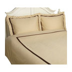 """Hotel Collections 300 TC Cotton Full/Queen Duvet Cover Set, Honey/Mocha - This 100% Cotton 300 Thread Count Duvet Cover Set adds a hotel feel with a luxurious touch. They are composed of premium long-staple cotton and have a """"Sateen"""" finish because they are woven to display a lustrous sheen that resembles satin. Set includes One Duvet Cover 90x92 and Two Pillow-shams 20x26 each."""