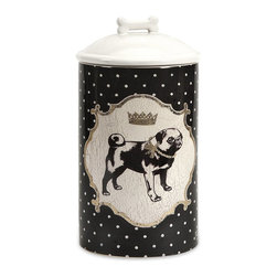 iMax - iMax Dog Ceramic Canister Medium X-07296 - Store all the essentials for your canine friend in this beautiful medium ceramic container with royal graphics.