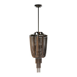 Kathy Kuo Home - Marcella Industrial Modern Copper Ball Chain 4 Light Pendant - Cast in the most subdued shades of bronze, this contemporary chandelier takes a classic beaded  curtain effect and pushes it to decadent new heights.  Draped generously in three tiers, the metal beading hangs like space age silk, reflecting light throughout.   While certainly deco in origins, this piece is so modern in attitude it looks like it stepped off the set of Blade Runner or out of Frank Lloyd Wright's most experimental buildings.  A great statement piece.
