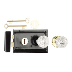 """Renovators Supply - Rim Locks Black On Steel/Glass Knob Rim Lock 4.88"""" L x 3.25"""" H - This traditional Rim Latch easily mounts to a door surface and is reversible. Comes complete with skeleton keys, escutcheon, keeper, 2 knobs, 1 interior brass rose, spindle, and mounting screws. Measures 4"""" h x 6 1/8"""" l. latch proj. 7/16"""". See below for a variety of antique Rim Latch finishes and knob combinations."""