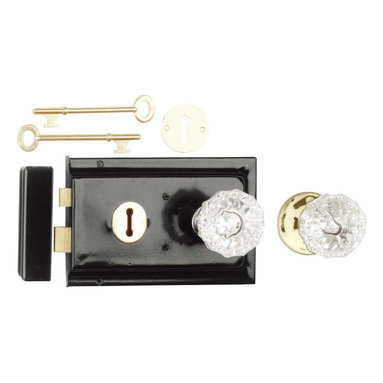 "Renovators Supply - Rim Locks Black On Steel/Glass Knob Rim Lock 4.88"" L x 3.25"" H - This traditional Rim Latch easily mounts to a door surface and is reversible. Comes complete with skeleton keys, escutcheon, keeper, 2 knobs, 1 interior brass rose, spindle, and mounting screws. Measures 4"" h x 6 1/8"" l. latch proj. 7/16"". See below for a variety of antique Rim Latch finishes and knob combinations."