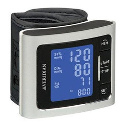 Veridian Healthcare - Digital Wrist BP Monitor Silvr - Veridian Healthcare Automatic Digital Blood Pressure Wrist Monitor - Silver.  Clinically accurate readings; Brushed aluminum housing; One-button blood pressure measurements; Large LCD display with backlight; Fully automatic inflation and deflation; Simultaneous systolic  diastolic and pulse results; 1-person memory bank holds 60 readings; Average of last 3 readings; Hypertension Indicator; Irregular Heartbeat Detection; Auto shut-off; Storage case.  This item cannot be shipped to APO/FPO addresses. Please accept our apologies.