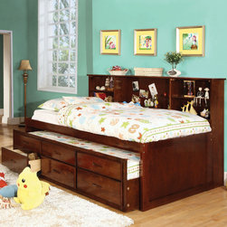Furniture of America - Furniture of America Percius Cherry Captain Bed with Trundle and Bookcase Headbo - Simplistic yet functional,this captain twin bed features an all-over cherry finish that stands out beautifully in any setting. The added bookcase headboard offers plenty of shelving space while the trundle provides a handy bed for any unexpected guests.