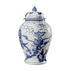 """Bungalow 5 - Bungalow 5 Legend Temple Jar - The Bungalow 5 Legend Temple jar exudes elegant chinoiserie style in contemporary interiors. A sculpted porcelain form, this lidded vessel's hand-painted blue mythical scene excites. 8.5""""W x 14""""H; Hand-painted blue and white porcelain"""