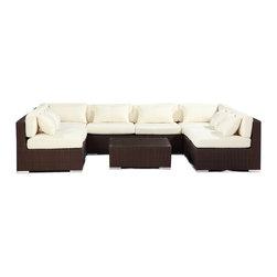 "Kardiel - Modify-It Outdoor Garden Furniture Modern Sofa Lounge Oahu 9pc Set Wicker, Ivory - The Oahu 9-piece all in one entertaining suite provides ample seating w/ a combination of both left & right sofa sectionals. This ergonomic configuration allows larger groups the luxury of an intimate setting where conversation flows effortless. A tempered glass top coffee table placed in the center connects all elements of the classic modern style.  The flexible nature of Modify-It modular allows for customized reconfiguring of the layout at will. The design origins are Clean European. The elements of comfort are inspired by the relaxed style of the Hawaiian Islands. The Aloha series comes in many configurations, but all feature a minimalist frame and thick, ample modern cube cushions. The back cushions are consistent in shape, not tapered in to create the lean back angle. Rather the frame itself is specifically ""lean tapered"" allowing for a full cushion, thus a more comfortable lounging experience. The cushion stitch style utilizes smooth and clean hand tailoring, without extruding edge piping. The generously proportioned frame is hand-woven of colorfast, PE Resin wicker. The fabric is Season-Smart 100% Outdoor Polyester and resists mildew, fading and staining. The ability to modify configurations may tempt you to move the pieces around... a lot. No worries, Modify-It is manufactured with a strong but lightweight, rust proof Aluminum frame for easy handling."