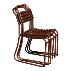 BoBo's Intriguing Objects - Metal Slatted Chairs - So many friends, not enough chairs? These metal marvels are your seating solution. Slats and studs plus a cool rust patina make for a great look — then they stack for easy storage when your guests go home.